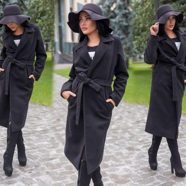 прямое пальто с поясом