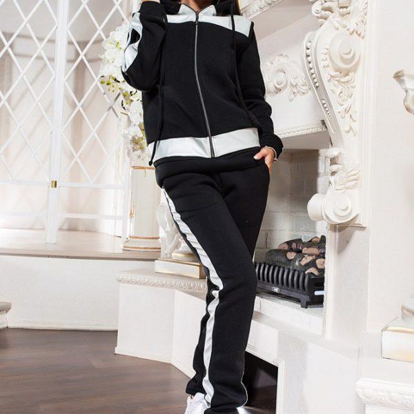 черный женский теплый костюм