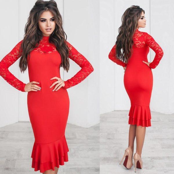красное облегающее платье
