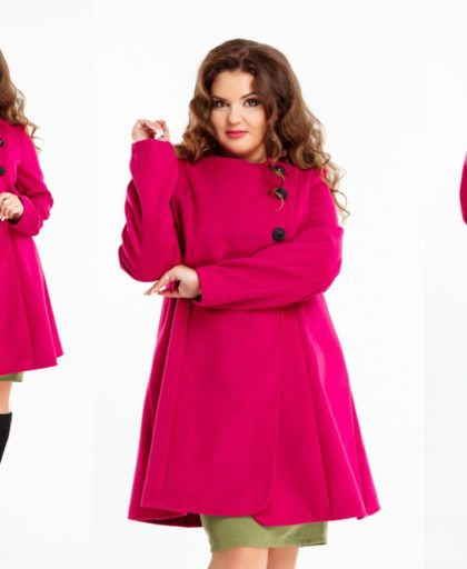 розовое расклешенное пальто