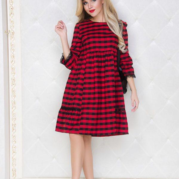 красное платье в клетку