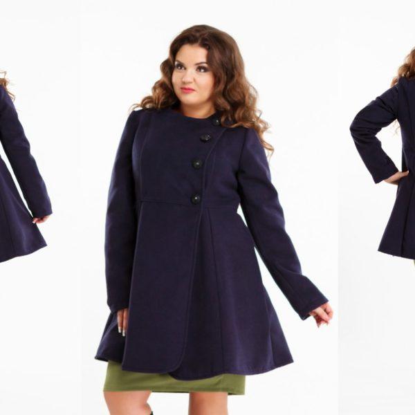 синее пальто для полных