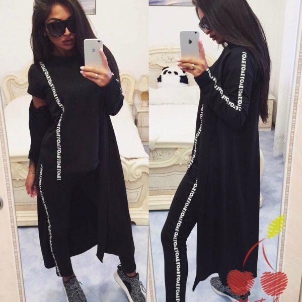 черный костюм с кардиганом большие размеры