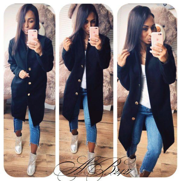 черное женское пальто