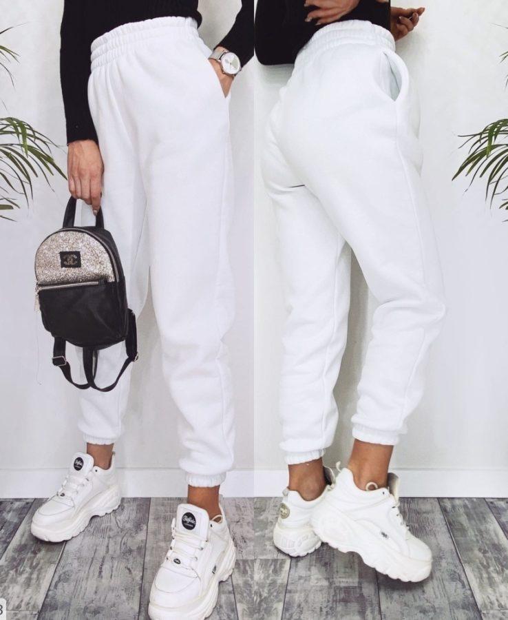 Белый теплые штаны на флисе