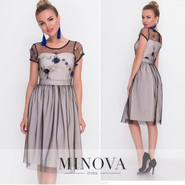 Женственное двухслойное платье
