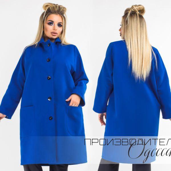 синее прямое пальто