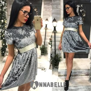 СЕРОЕ КОРОТкое платье из бархата