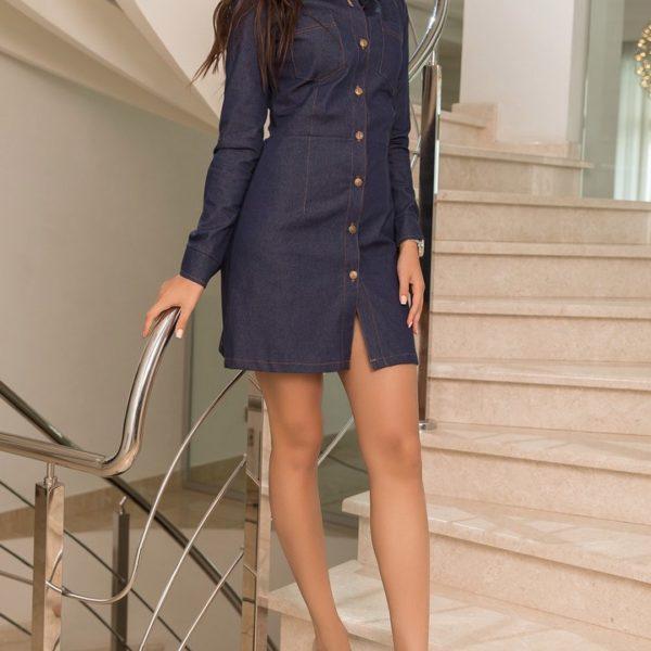 джинсовое платье с длинными рукавами