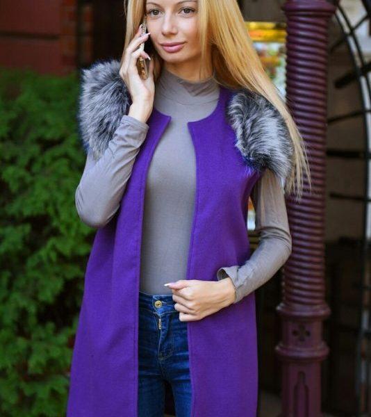 фиолетовый кардиган с мехом