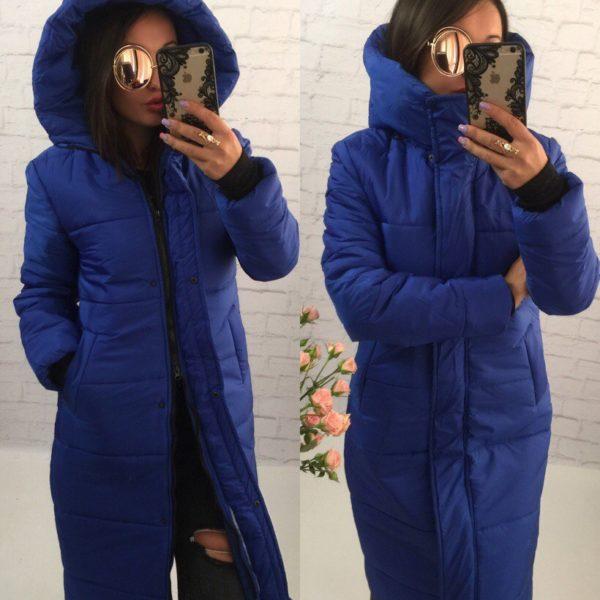 зимний длинный синий пуховик