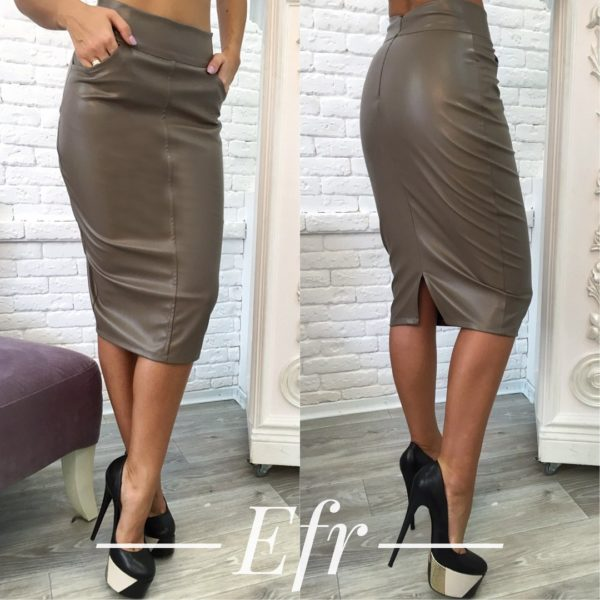the leather fitting skirt