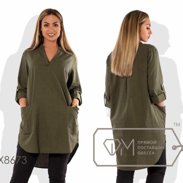 Платье- туника с накладными карманами