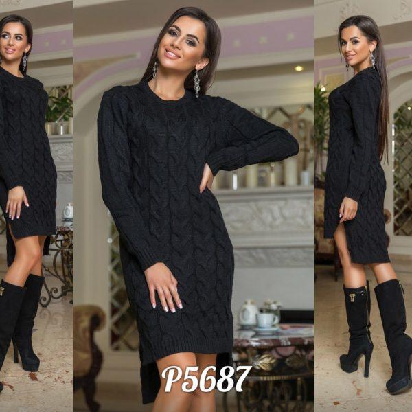 черное вязанное платье