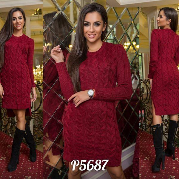 бордовое вязанное платье