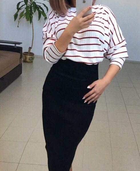 черная юбка с кофта