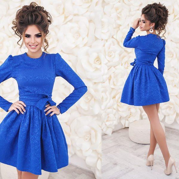 синее платье с подъюбником