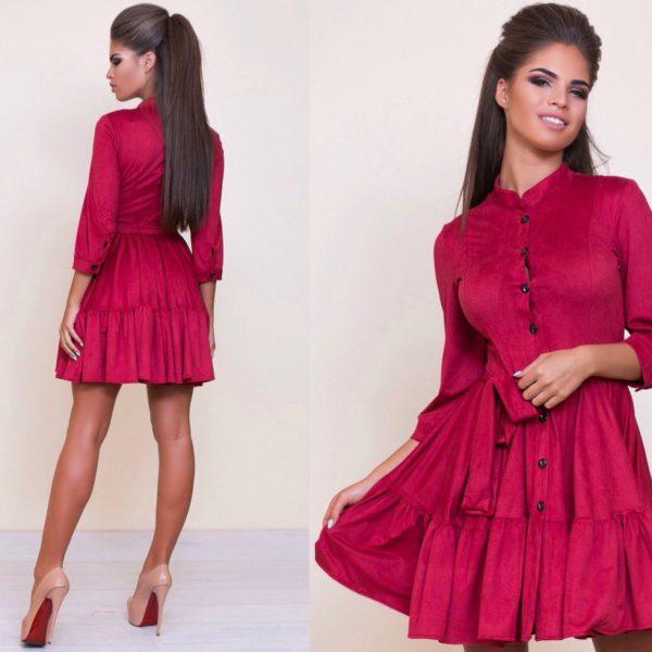 бордовое замшевое платье
