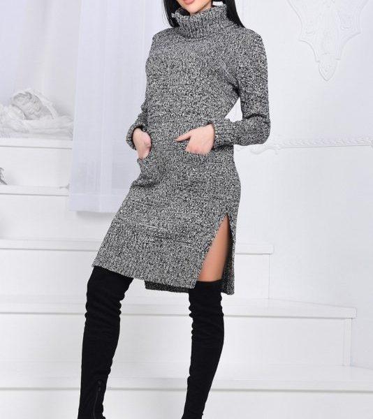 серое вязанное платье