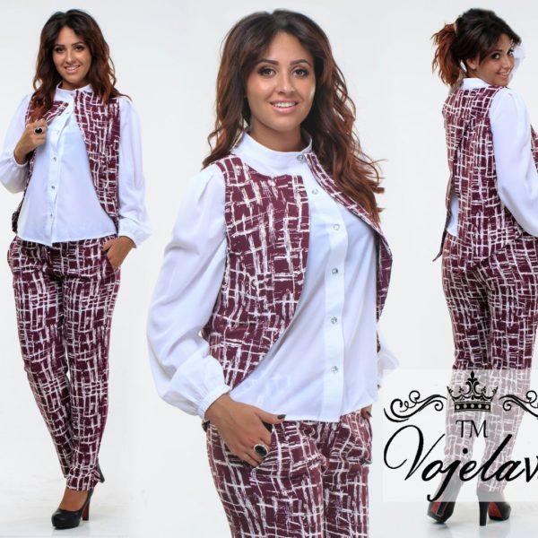 брюки с блузкой и жилеткой