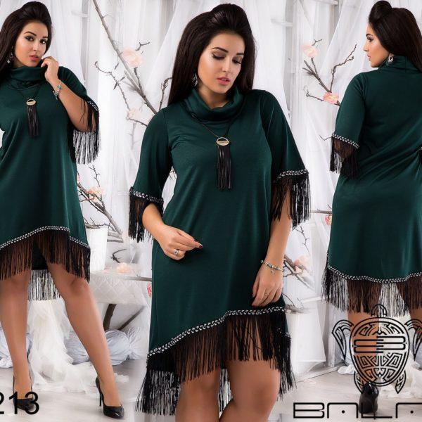 темное зеленое платье