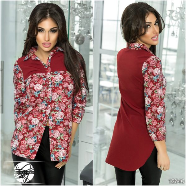 Женская рубашка с удлиненной спинкой