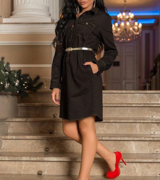 -черное джинсовое платье