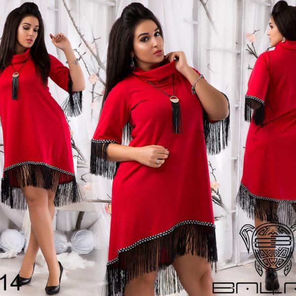 красное платье с воротом