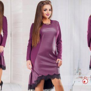 Трикотажное платье с кожаными вставками