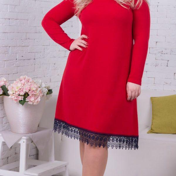 красное платье из ангоры