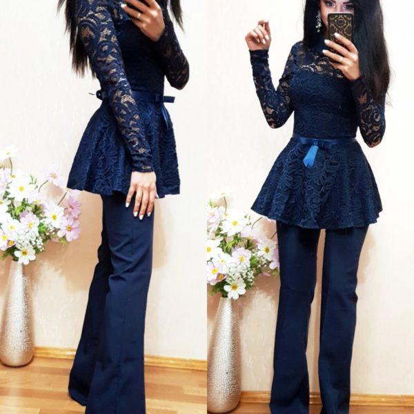 темно синие брюки клеш