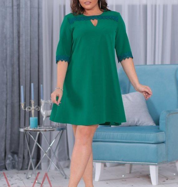 расклешенное зеленое платье