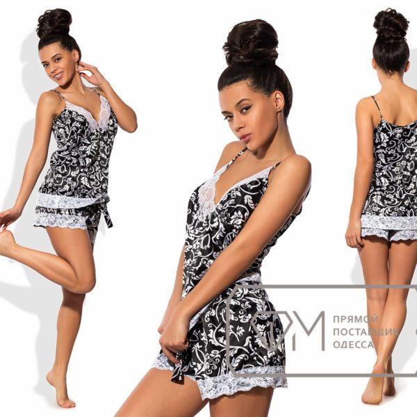 атласная пижама с шортами