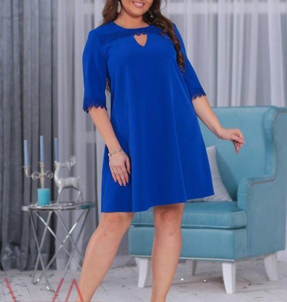 расклешенное синее платье