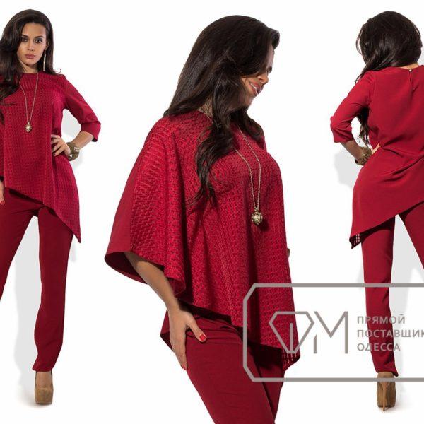 бордовый костюм женский