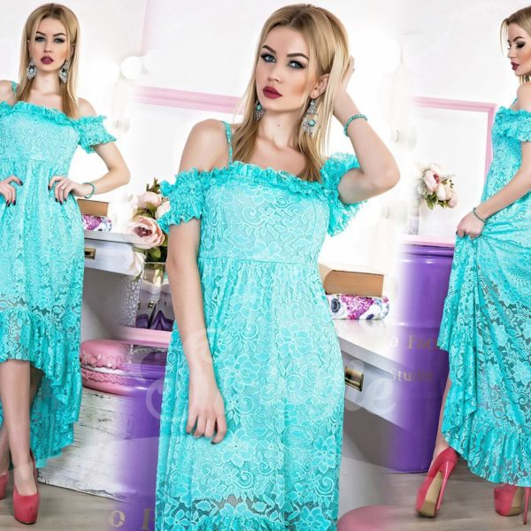 берюзовое вечернее платье