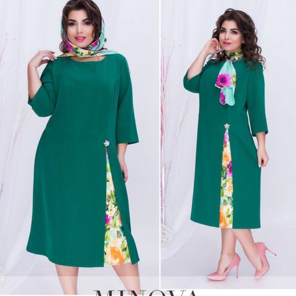 зеленое деловое платье для полных
