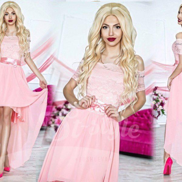 нежно розовое платье для выпускного