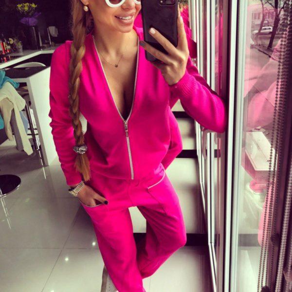 Женский модный комбинезон розовый фото