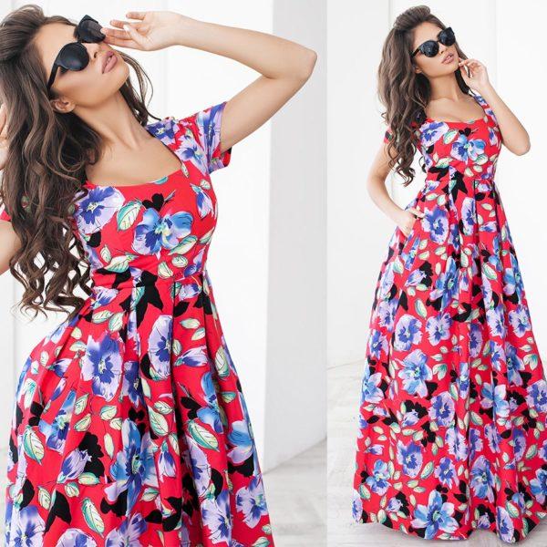 Красивое летнее длинное платье