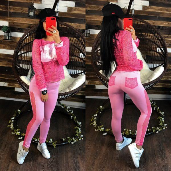 розовый полупрозрачный костюм