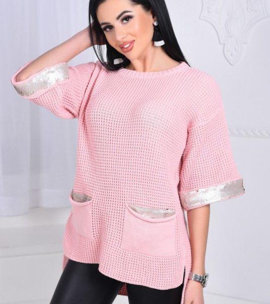 розовая вязанная туника