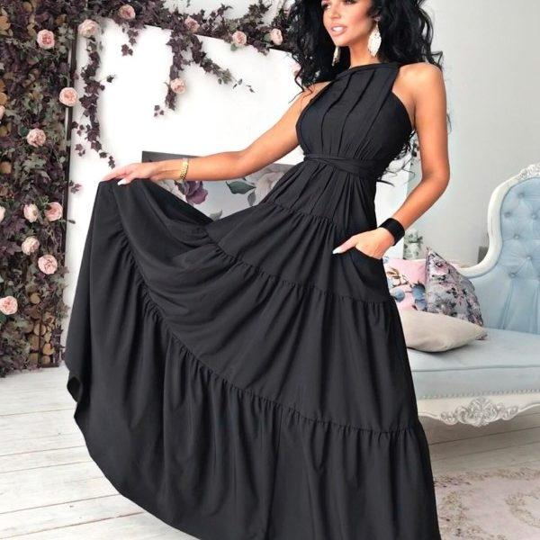 черное длинное летнее платье