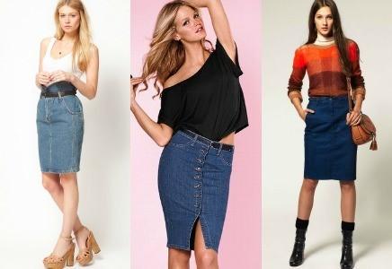 джинсовые варианты образов девушек в юбках