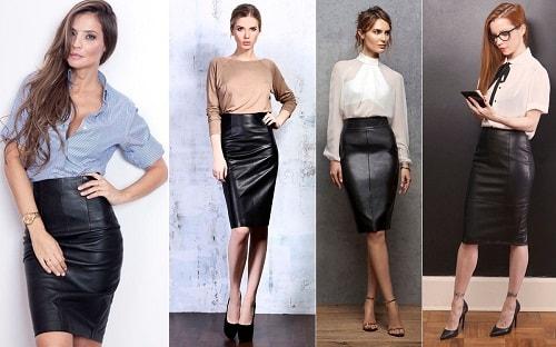 фасоны и образы кожаных юбок