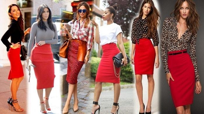 женщины в юбках красного цвета