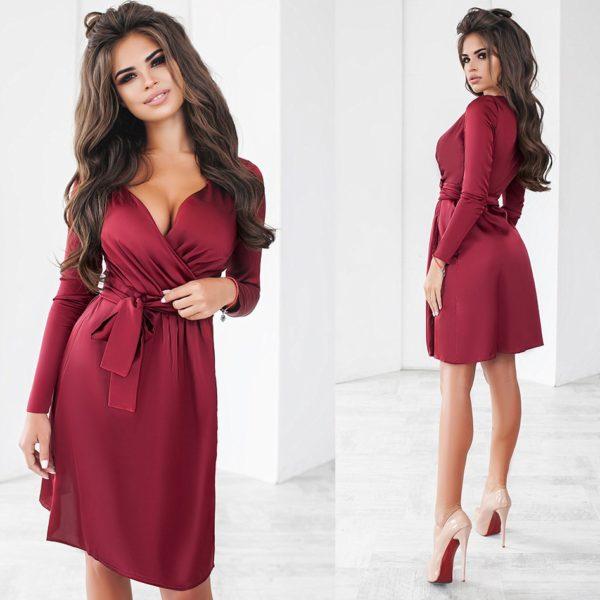 бордовое шелковое платье