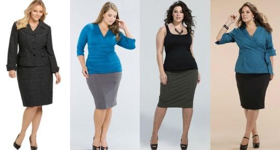 образы для полных женщин в юбках