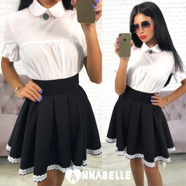 черная расклешенная юбка