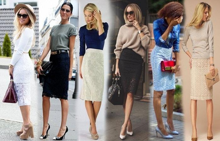 варианты образов в юбках из кружева